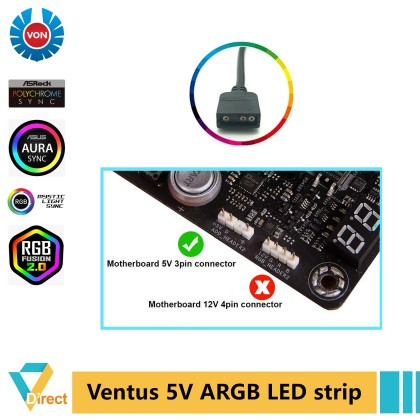 Von Ventus 5V 3-pin 3p ARGB LED strip in hard Aluminum case for ASRock Asus Gigabyte MSI motherboard Gaming PC with RGB port 3 pin Aura